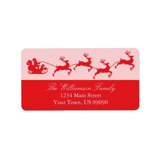 Silhouette Santa's Sleigh Christmas (Red) Address Label