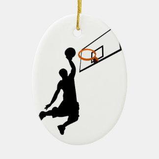 Silhouette Slam Dunk Basketball Player Ceramic Oval Decoration