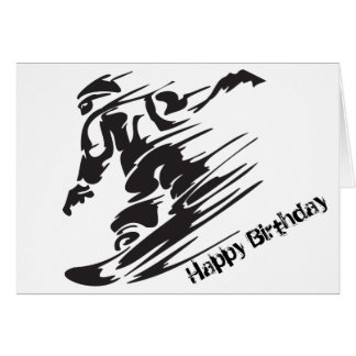 Silhouette Snowboarding Mountain Happy Birthday Greeting Card