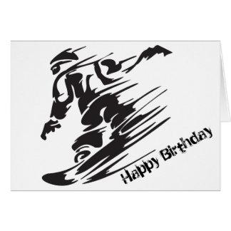 Silhouette Snowboarding Mountain Happy Birthday Greeting Card