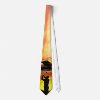 silhouette Sunset Helicopter Golf Tie