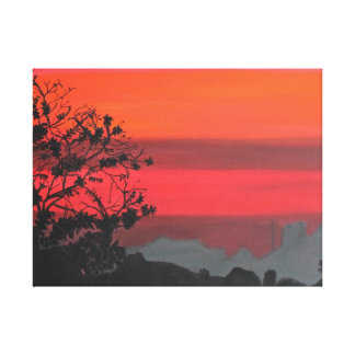 Silhouette sunset painting of Krabi, Thailand Canvas Print
