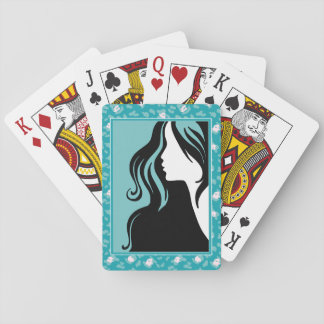 Silhouette Teal Leopard Woman Playing Card