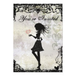 Silhouette Teen Girl and Hearts Birthday Party 13 Cm X 18 Cm Invitation Card
