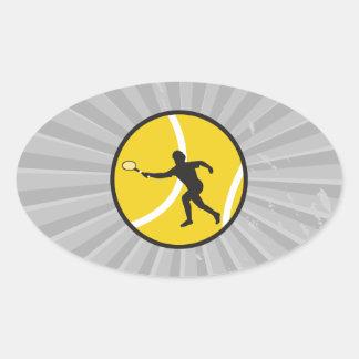 silhouette tennis vector design oval sticker