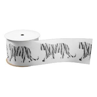 Silhouette Tiger Black and White Satin Ribbon
