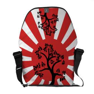 Silhouette tree on rising sun background commuter bag