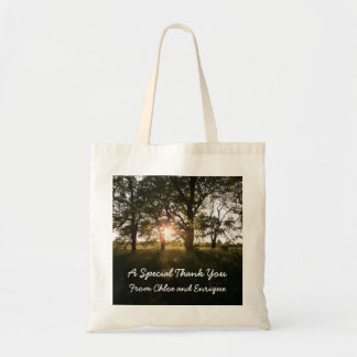 Silhouette Trees And Sunlight Personalized Wedding Budget Tote Bag