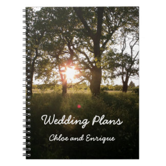 Silhouette Trees And Sunlight Wedding Plans Book