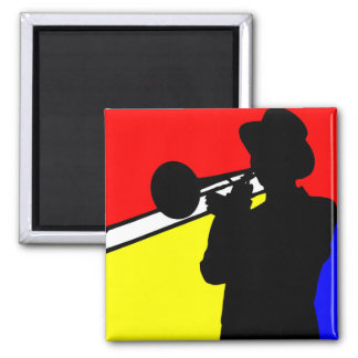 Silhouette trombone player, mondrian style art square magnet