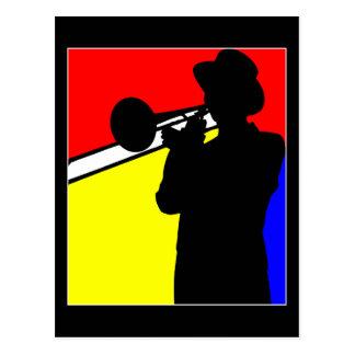 Silhouette trombone player, mondrian style art post cards