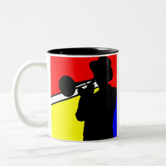 Silhouette trombone player, mondrian style art Two-Tone coffee mug