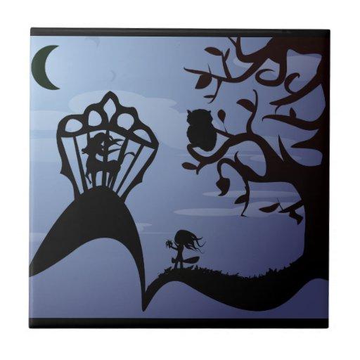 Silhouette Unicorn, Owl & Girl Tile