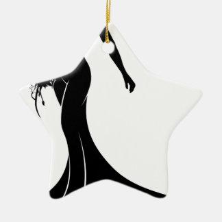 Silhouette Wedding Gown Bride Ceramic Star Decoration