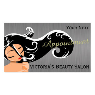 Silhouette Woman Hair Stylist Appointment Pack Of Standard Business Cards