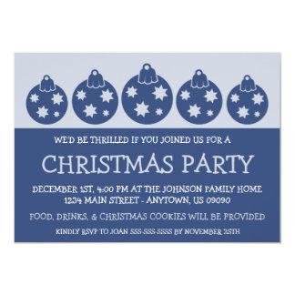 "Silhouette Xmas Ornaments Invitations (Navy Blue) 5"" X 7"" Invitation Card"
