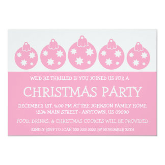 Silhouette Xmas Ornaments Invitations (Pink)