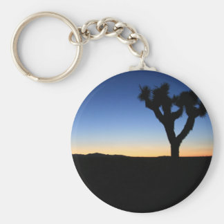 Silhouetted Joshua Tree Basic Round Button Key Ring