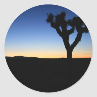 Silhouetted Joshua Tree Round Sticker