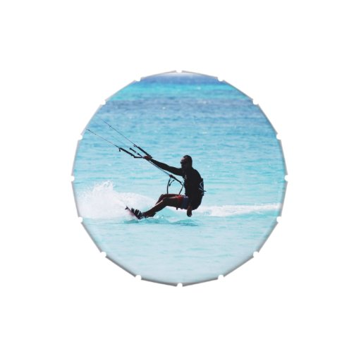 Silhouetted Kitesurfer Jelly Belly Candy Tin