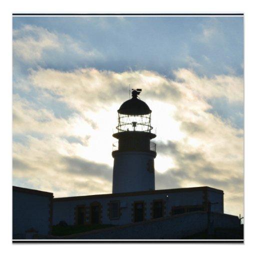 Silhouetted Lighthouse Custom Invitation