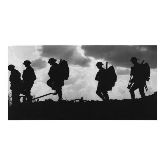 Silhouetted Marching World War I Soldiers 1917 Photo Greeting Card