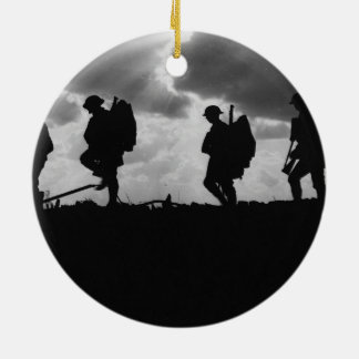Silhouetted Marching World War I Soldiers (1917) Round Ceramic Decoration