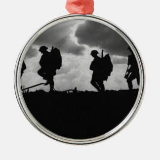 Silhouetted Marching World War I Soldiers (1917) Silver-Colored Round Decoration