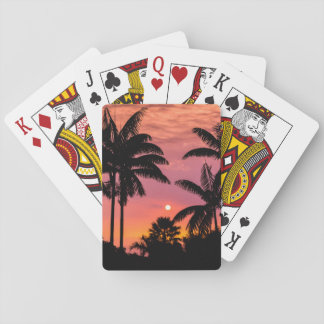 Silhouetted palm trees, Hawaii Playing Cards