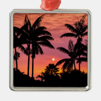 Silhouetted palm trees, Hawaii Silver-Colored Square Decoration