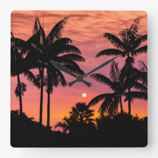 Silhouetted palm trees, Hawaii Square Wall Clock