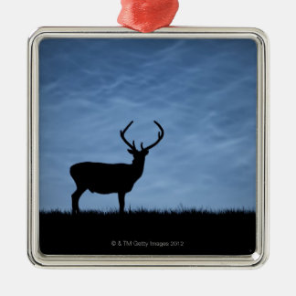 Silhouetted Red Deer Stag at Night Christmas Ornament