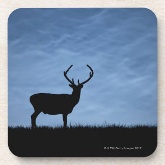 Silhouetted Red Deer Stag at Night Coaster