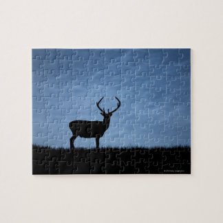 Silhouetted Red Deer Stag at Night Puzzle