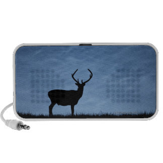 Silhouetted Red Deer Stag at Night Travel Speaker