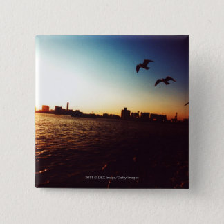 Silhouetted Tokyo Bay skyline at sunset 15 Cm Square Badge