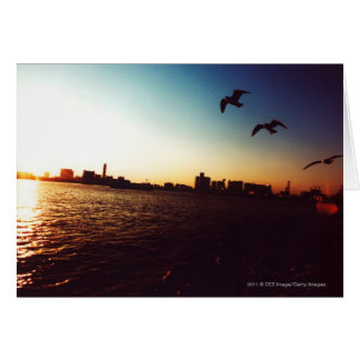 Silhouetted Tokyo Bay skyline at sunset Card