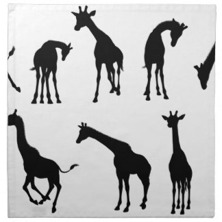 Silhouettes Giraffe Animal Napkin