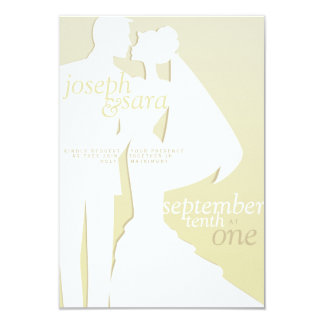 Silhouettes in champagne. 9 cm x 13 cm invitation card