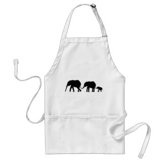 Silhouettes of 3 Elephants Holding Tails Adult Apron
