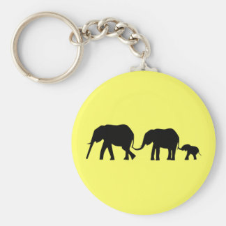 Silhouettes of 3 Elephants Holding Tails Basic Round Button Key Ring