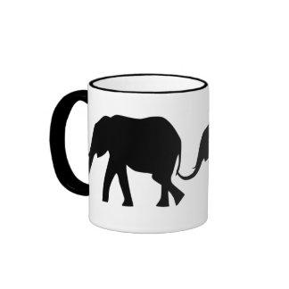 Silhouettes of 3 Elephants Holding Tails Ringer Mug