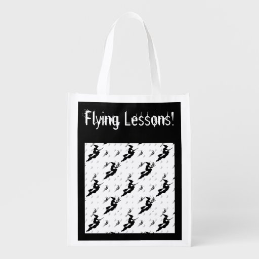"""Silhouettes of Black Witches in """"Flying Lessons"""" Grocery Bag"""