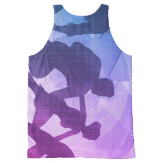 Silhouettes of Business People with Teamwork All-Over Print Tank Top