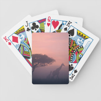 Silhouettes Of Giraffes Bicycle Playing Cards
