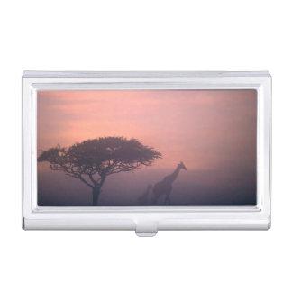 Silhouettes Of Giraffes Business Card Holder