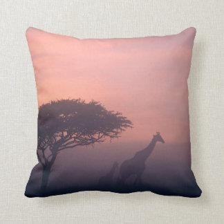 Silhouettes Of Giraffes Cushion