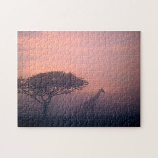 Silhouettes Of Giraffes Jigsaw Puzzle