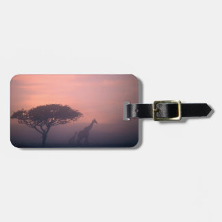 Silhouettes Of Giraffes Luggage Tag