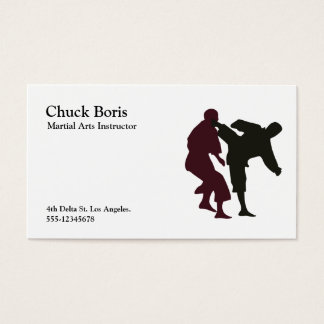 Silhouettes of Martial Artists During a Fight Business Card